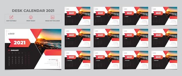 Calendrier 2021, définir la conception de modèle de calendrier de bureau
