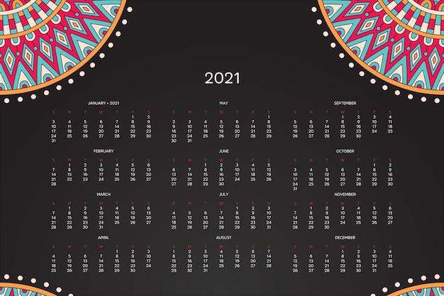Calendrier 2021 avec mandala oriental