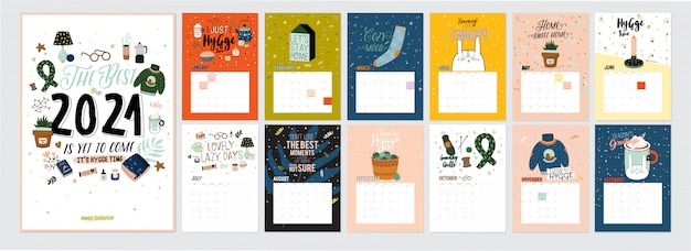 Calendrier 2021 mignon. calendrier annuel de planificateur avec tous les mois. bon organisateur et calendrier. illustration hygge colorée lumineuse avec des citations de motivation.