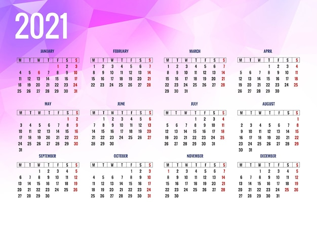 Calendrier 2021 moderne pour fond de polygone