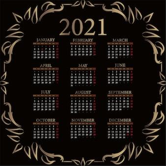 Calendrier 2021 avec ornement de luxe ou fond de conception de cadre floral.