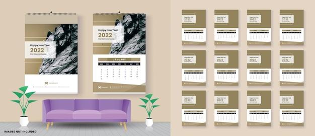 Calendrier 2022 calendrier mural 2022 modèle vectoriel set de 12 mois planner
