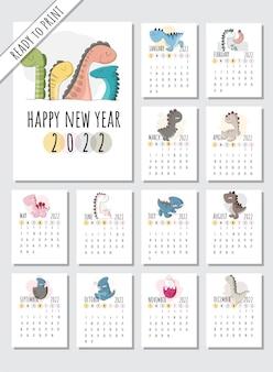 Calendrier 2022 avec illustration d'animaux de dessin animé plat illustration animal mignon avec 12 mois cal