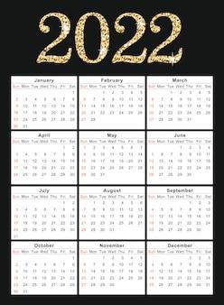 Calendrier 2022 modèle de conception d'entreprise vecteur bonne année tigre 2022