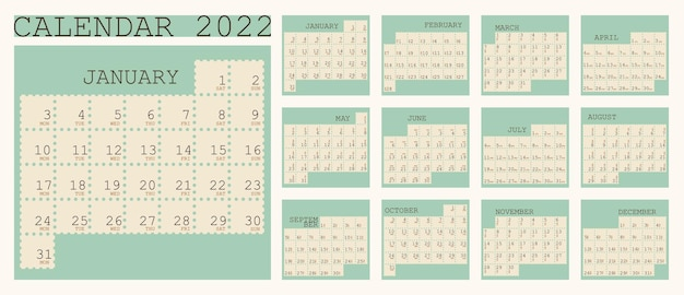 Calendrier 2022 Organisateur De Planificateur Lundi Semaine Début Mise En Page Verticale Définie Pour 12 Mois Vecteur Premium