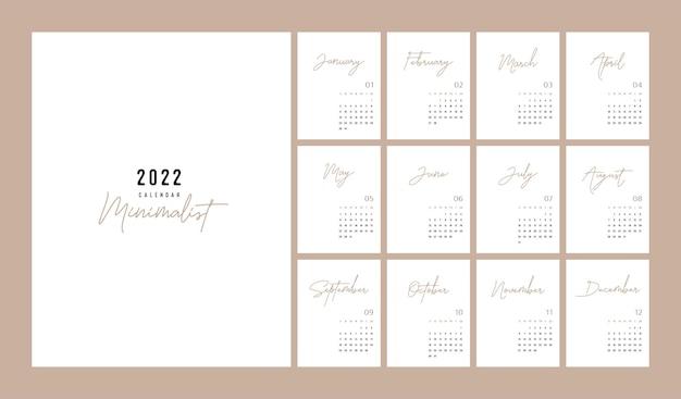 Calendrier 2022 style minimaliste à la mode. ensemble de calendrier de bureau de 12 pages. conception de planificateur de calendrier minimal 2022 pour le modèle d'impression. illustration vectorielle