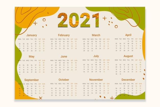 Calendrier abstrait nouvel an 2021