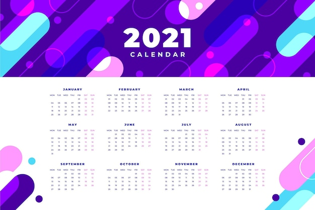 Calendrier abstrait nouvel an 2021