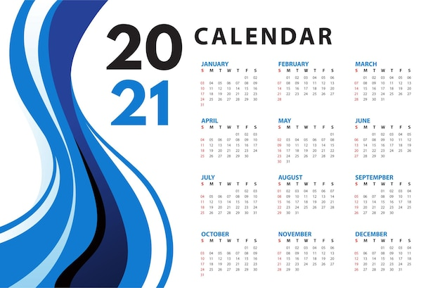 Calendrier abstrait ondulé bleu 2021