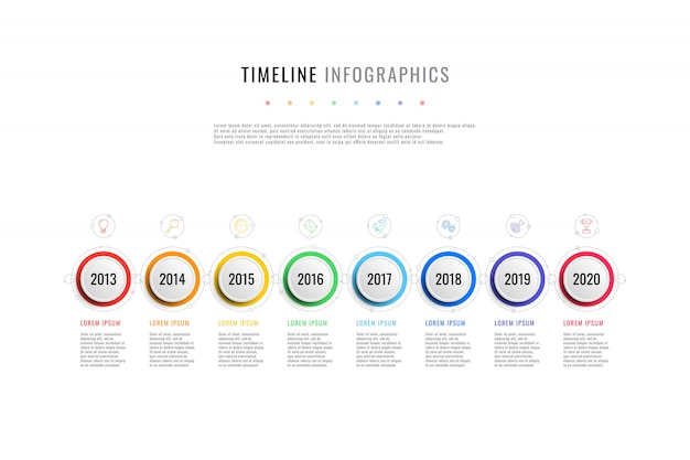 Calendrier d'affaires horizontal avec 8 éléments ronds, indication de l'année et zones de texte