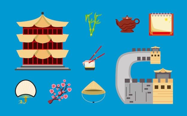 Calendrier alimentaire de la pagode chinoise grande muraille