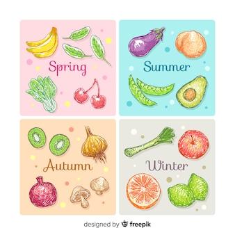 Calendrier alimentaire saisonnier dessiné à la main