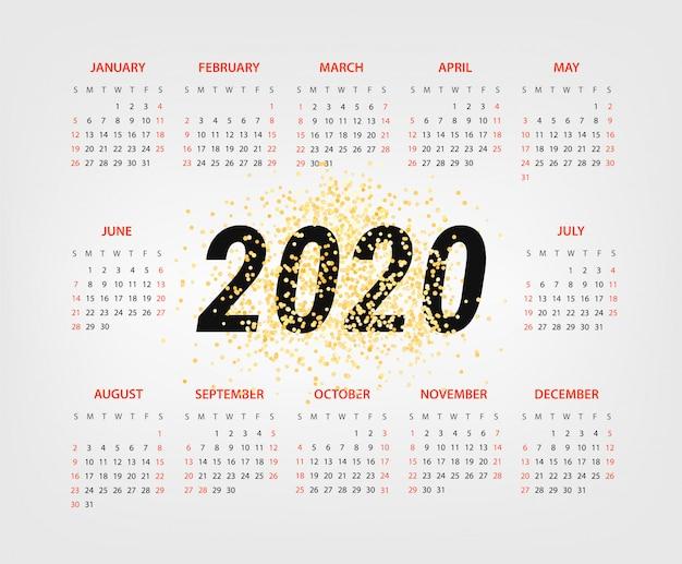 Calendrier de l'année 2020
