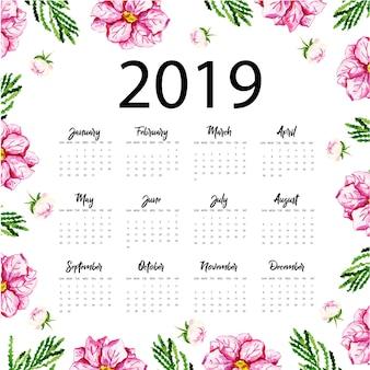 Calendrier annuel 2019 avec aquarelle florale