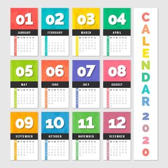 Calendrier annuel coloré 2020