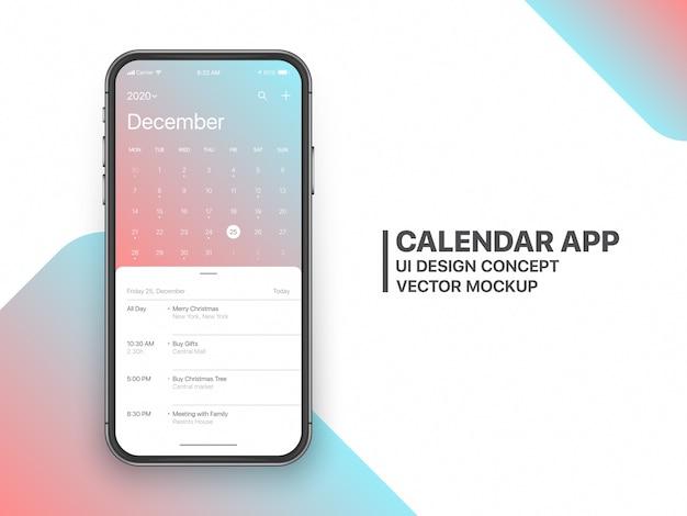Calendrier app ui ux concept page de décembre 2020 avec liste de tâches et maquette de conception de tâches