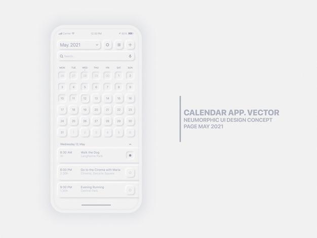 Calendrier application mobile page mai année avec gestionnaire de tâches ux conceptuel ux neumorphic