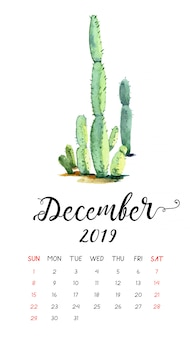 Calendrier aquarelle de cactus pour décembre 2019.