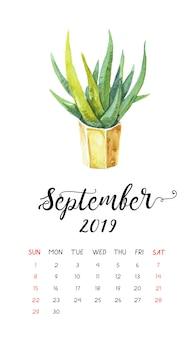 Calendrier aquarelle de cactus pour septembre 2019.