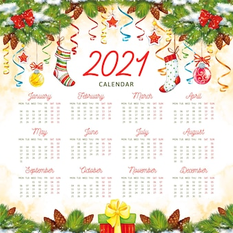 Calendrier aquarelle nouvel an 2021