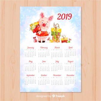 Calendrier aquarelle nouvel an chinois 2019