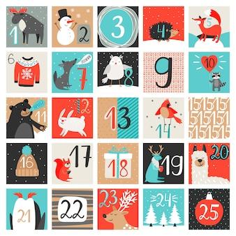 Calendrier de l'avent. calendrier du compte à rebours de décembre, hiver créatif de la veille de noël avec chiffres