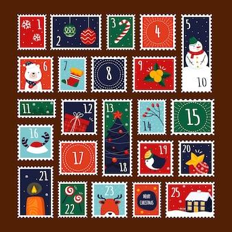Calendrier de l'avent dessiné à la main avec des timbres