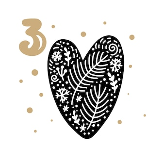 Calendrier de l'avent avec un joli vecteur scandinave dessiné à la main. vingt-quatre jours avant noël. troisième jour. illustration d'hiver de grand beau coeur.