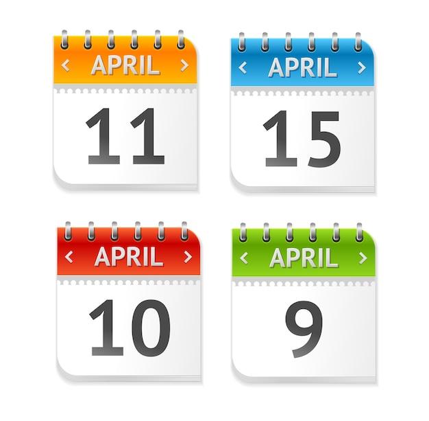 Calendrier avril avec ensemble de dates isolé sur fond blanc. design plat