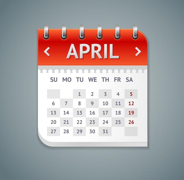 Calendrier avril isolé sur fond gris. design plat
