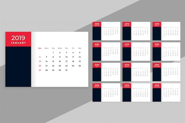 Calendrier de bureau 2019 dans un style minimal