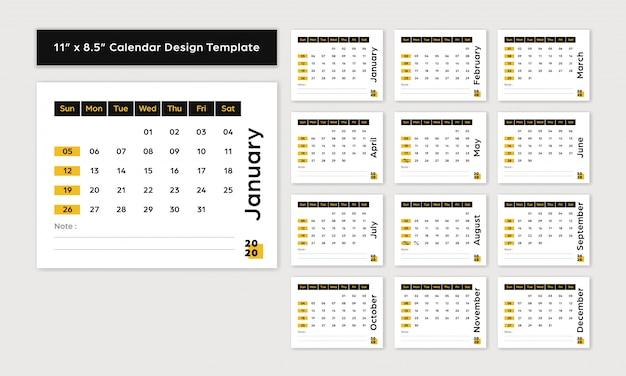 Calendrier de bureau 2020 nouvelle année 11x8,5 pouces taille style décontracté noir et jaune