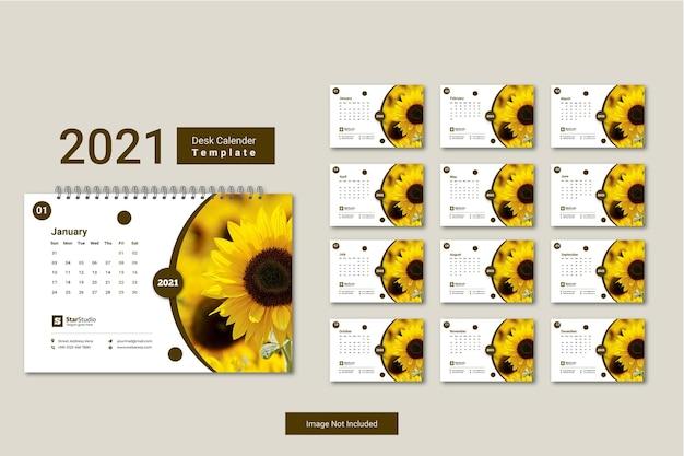 Calendrier de bureau 2021 conception de modèle minimaliste créatif