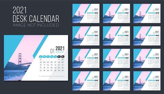 Calendrier de bureau 2021 premium, calendrier de bureau pour 2021, modèle de calendrier de bureau 2021