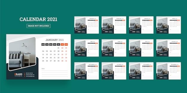 Calendrier De Bureau 2021 Calendrier De Bureau 2021 | Vecteur Premium