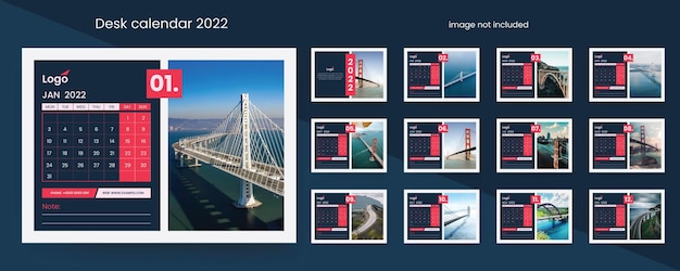Calendrier de bureau 2022 avec des accents vectoriels créatifs rouges et sombres
