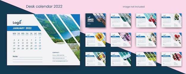 Calendrier de bureau créatif 2022 avec des accents vectoriels premium bleus
