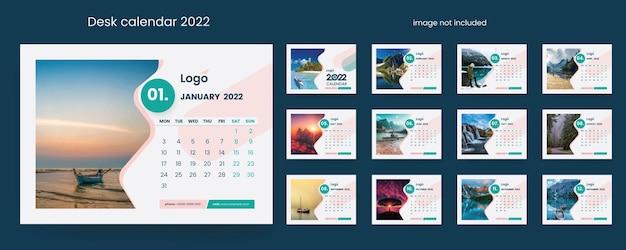Calendrier de bureau créatif 2022 avec des éléments de conception minimaux