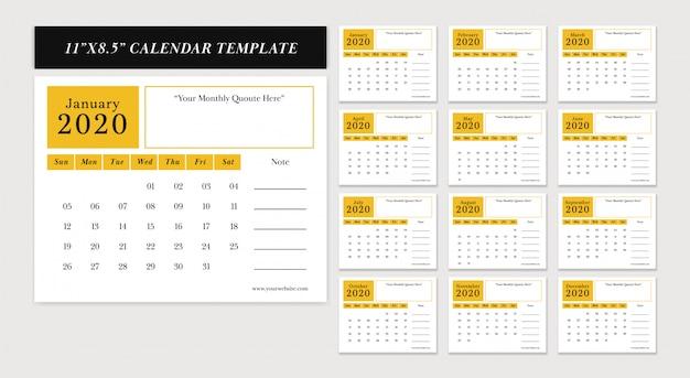 Calendrier de bureau horizontal 11 x 8,5 pouces modèle de conception de vecteur de nouvel an 2020 défini dans le thème de couleur jaune