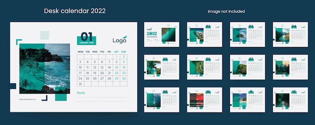 Calendrier de bureau minimal 2022 éléments vectoriels premium