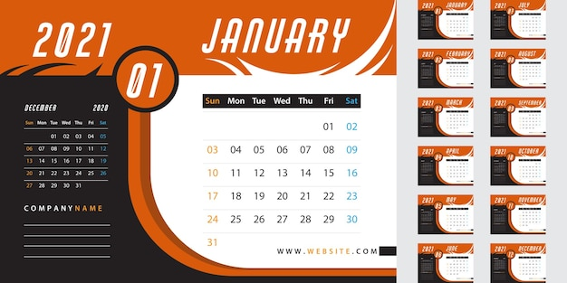 Calendrier de bureau orange 2021