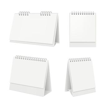 Calendrier de bureau. organisateur avec calendrier agenda pages blanches sur maquette réaliste de table