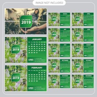 Calendrier de bureau vert 2019
