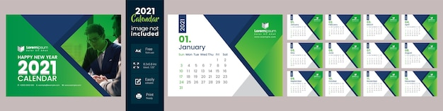 Calendrier de bureau vert 2021