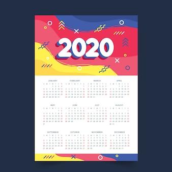 Calendrier de calendrier annuel coloré