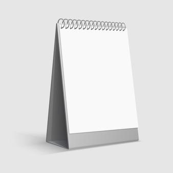 Calendrier calendrier de bureau blanc vierge avec classeur à anneaux