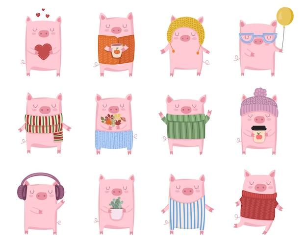Calendrier chinois vector illustration cartoon isolé année du cochon jaune