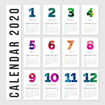 Calendrier coloré avec mois et jours