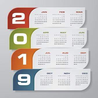 Calendrier de conception moderne 2019.