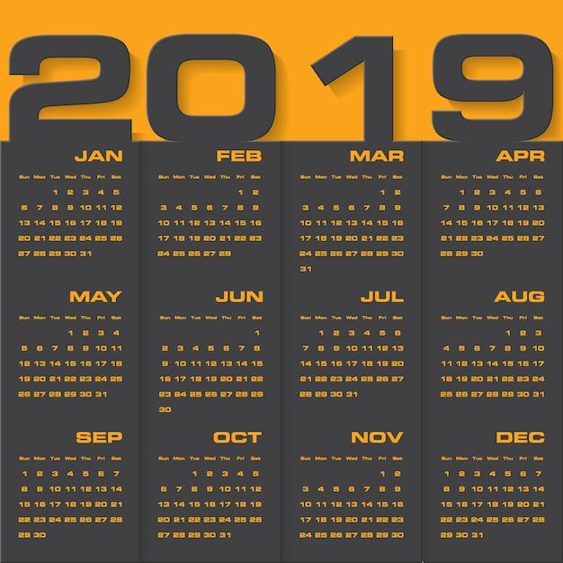 Calendrier de conception moderne 2019
